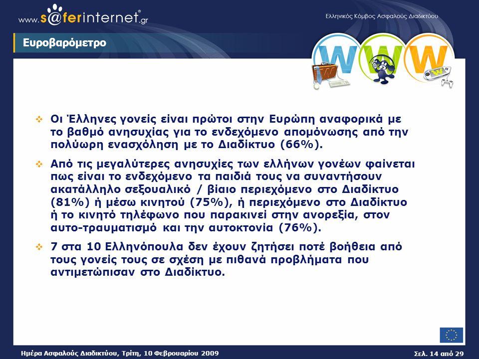 Σελ. 14 από 29 Ημέρα Ασφαλούς Διαδικτύου, Τρίτη, 10 Φεβρουαρίου 2009 Ευροβαρόμετρο  Οι Έλληνες γονείς είναι πρώτοι στην Ευρώπη αναφορικά με το βαθμό