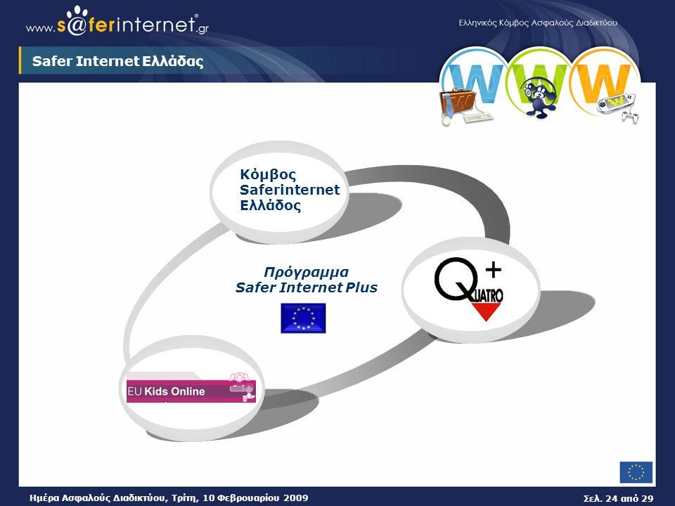 Σελ. 24 από 29 Ημέρα Ασφαλούς Διαδικτύου, Τρίτη, 10 Φεβρουαρίου 2009 Safer Internet Ελλάδας Κόμβος Saferinternet Ελλάδος Πρόγραμμα Safer Internet Plus