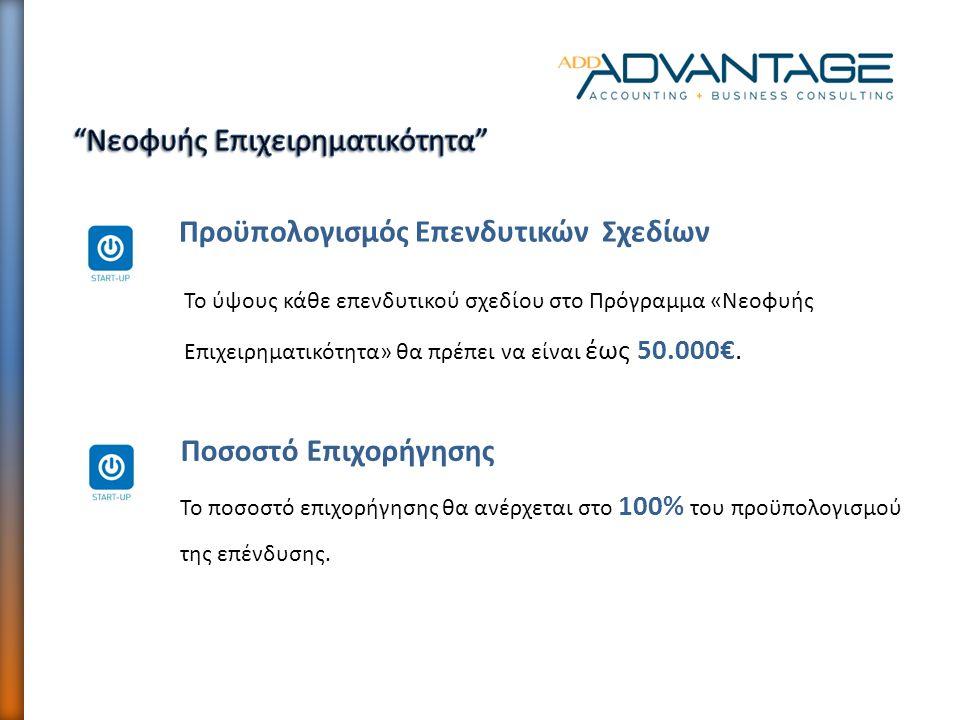 Το ύψους κάθε επενδυτικού σχεδίου στο Πρόγραμμα «Νεοφυής Επιχειρηματικότητα» θα πρέπει να είναι έως 50.000€. Προϋπολογισμός Επενδυτικών Σχεδίων Ποσοστ