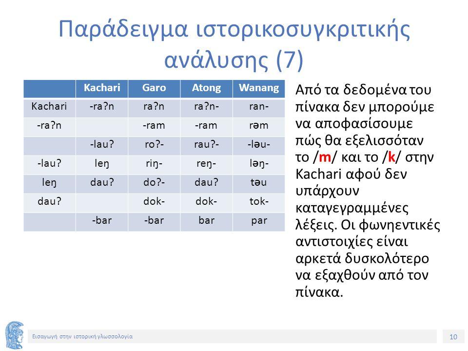 10 Εισαγωγή στην ιστορική γλωσσολογία KachariGaroAtongWanang Kachari-ra?nra?nra?n-ran- -ra?n -ram rƏmrƏm -lau?ro?-rau?--l Ə u- -lau?leŋriŋ-reŋ-l Ə ŋ-