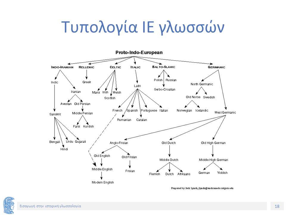 18 Εισαγωγή στην ιστορική γλωσσολογία Τυπολογία ΙΕ γλωσσών