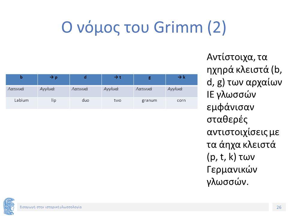 26 Εισαγωγή στην ιστορική γλωσσολογία Ο νόμος του Grimm (2) b→ pd→ tg→ k ΛατινικάΑγγλικάΛατινικάΑγγλικάΛατινικάΑγγλικά Labiumlipduotwogranumcorn Αντίσ