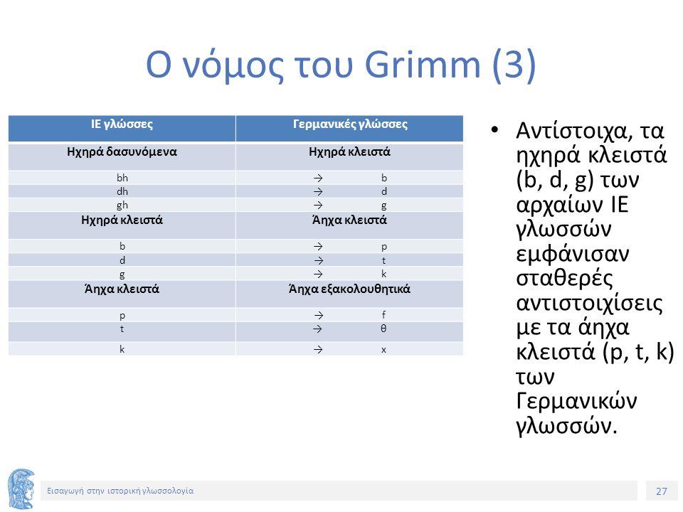 27 Εισαγωγή στην ιστορική γλωσσολογία Ο νόμος του Grimm (3) ΙΕ γλώσσεςΓερμανικές γλώσσες Ηχηρά δασυνόμεναΗχηρά κλειστά bh→b→b dh→d→d gh→g→g Ηχηρά κλει