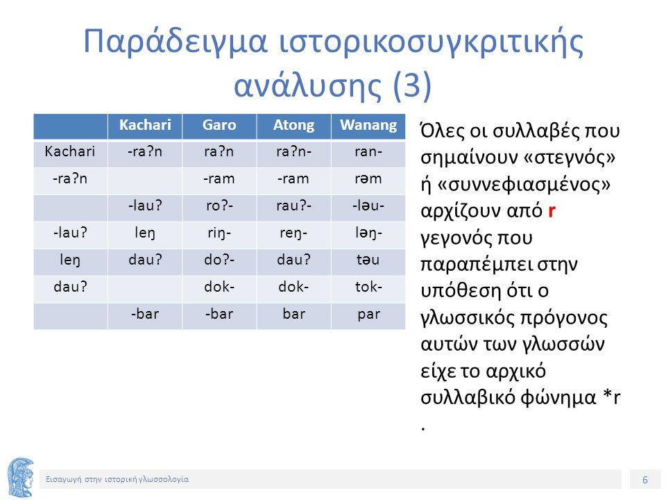 37 Εισαγωγή στην ιστορική γλωσσολογία Ορισμένες χαρακτηριστικές γλωσσικές αλλαγές (7) 3.
