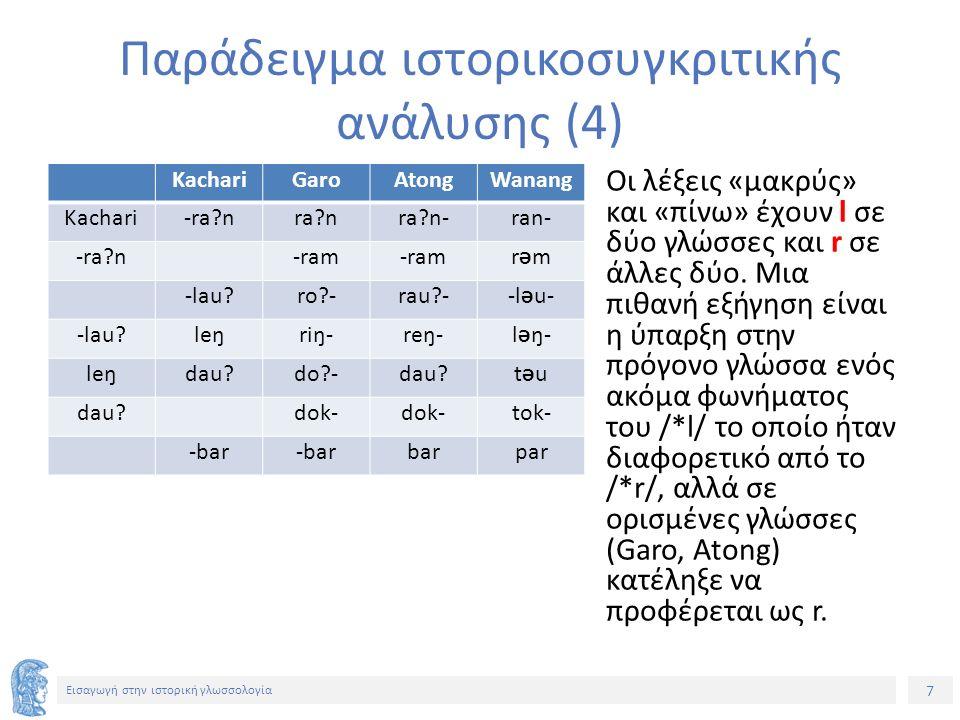38 Εισαγωγή στην ιστορική γλωσσολογία Ορισμένες χαρακτηριστικές γλωσσικές αλλαγές (8) 4.