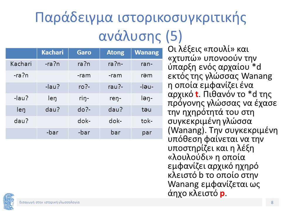 8 Εισαγωγή στην ιστορική γλωσσολογία KachariGaroAtongWanang Kachari-ra?nra?nra?n-ran- -ra?n -ram rƏmrƏm -lau?ro?-rau?--l Ə u- -lau?leŋriŋ-reŋ-l Ə ŋ- l