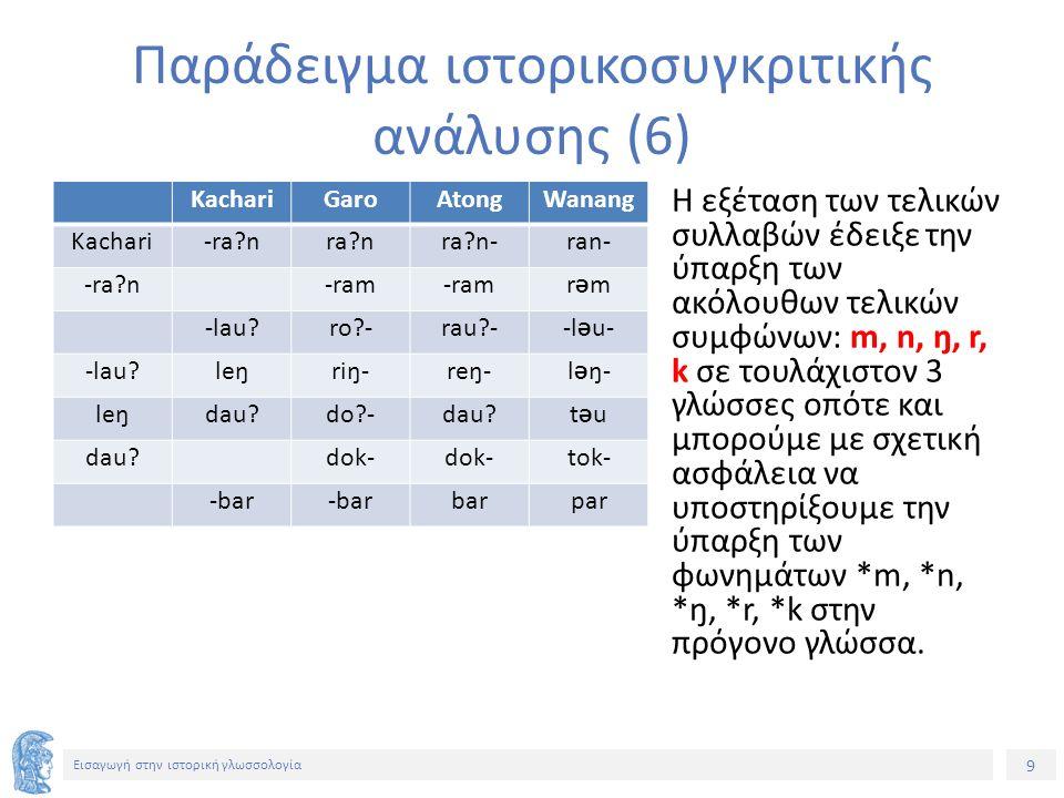 9 Εισαγωγή στην ιστορική γλωσσολογία KachariGaroAtongWanang Kachari-ra?nra?nra?n-ran- -ra?n -ram rƏmrƏm -lau?ro?-rau?--l Ə u- -lau?leŋriŋ-reŋ-l Ə ŋ- l