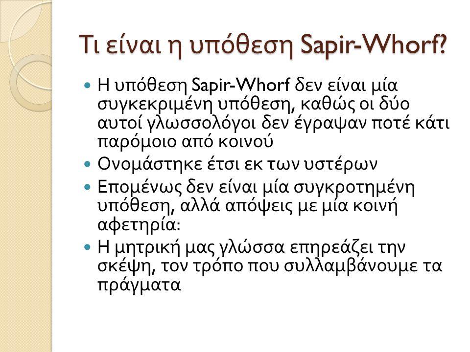 Τι είναι η υπόθεση Sapir-Whorf? Η υπόθεση Sapir-Whorf δεν είναι μία συγκεκριμένη υπόθεση, καθώς οι δύο αυτοί γλωσσολόγοι δεν έγραψαν ποτέ κάτι παρόμοι