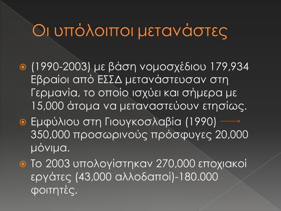  (1990-2003) με βάση νομοσχέδιου 179,934 Εβραίοι από ΕΣΣΔ μετανάστευσαν στη Γερμανία, το οποίο ισχύει και σήμερα με 15,000 άτομα να μεταναστεύουν ετησίως.