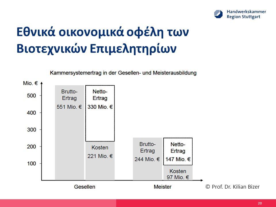 Εθνικά οικονομικά οφέλη των Βιοτεχνικών Επιμελητηρίων 20 © Prof. Dr. Kilian Bizer
