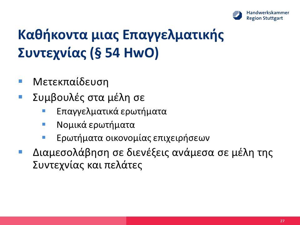 Καθήκοντα μιας Επαγγελματικής Συντεχνίας (§ 54 HwO)  Μετεκπαίδευση  Συμβουλές στα μέλη σε  Επαγγελματικά ερωτήματα  Νομικά ερωτήματα  Ερωτήματα οικονομίας επιχειρήσεων  Διαμεσολάβηση σε διενέξεις ανάμεσα σε μέλη της Συντεχνίας και πελάτες 27