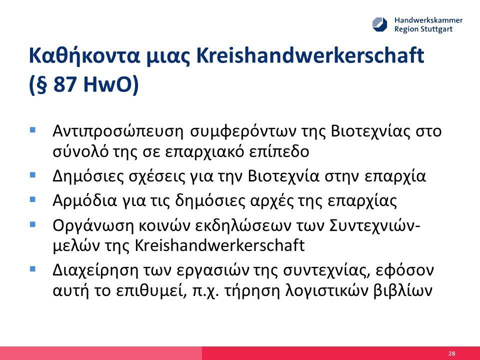 Καθήκοντα μιας Kreishandwerkerschaft (§ 87 HwO)  Αντιπροσώπευση συμφερόντων της Βιοτεχνίας στο σύνολό της σε επαρχιακό επίπεδο  Δημόσιες σχέσεις για την Βιοτεχνία στην επαρχία  Αρμόδια για τις δημόσιες αρχές της επαρχίας  Οργάνωση κοινών εκδηλώσεων των Συντεχνιών- μελών της Kreishandwerkerschaft  Διαχείρηση των εργασιών της συντεχνίας, εφόσον αυτή το επιθυμεί, π.χ.
