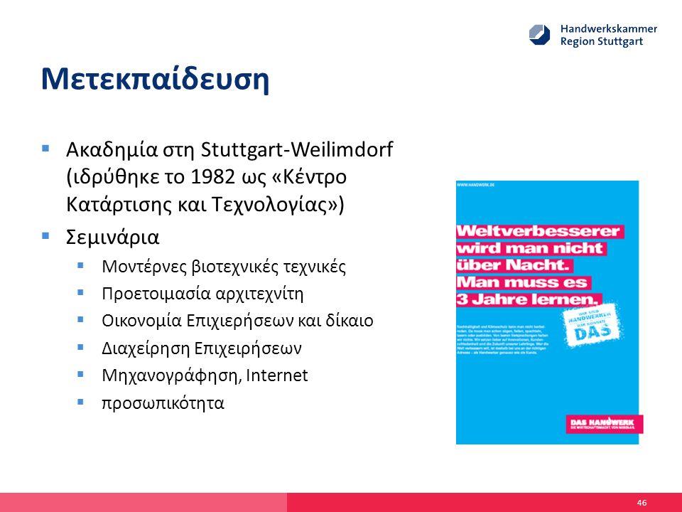 Μετεκπαίδευση  Ακαδημία στη Stuttgart-Weilimdorf (ιδρύθηκε το 1982 ως «Κέντρο Κατάρτισης και Τεχνολογίας»)  Σεμινάρια  Μοντέρνες βιοτεχνικές τεχνικές  Προετοιμασία αρχιτεχνίτη  Οικονομία Επιχιερήσεων και δίκαιο  Διαχείρηση Επιχειρήσεων  Μηχανογράφηση, Internet  προσωπικότητα 46