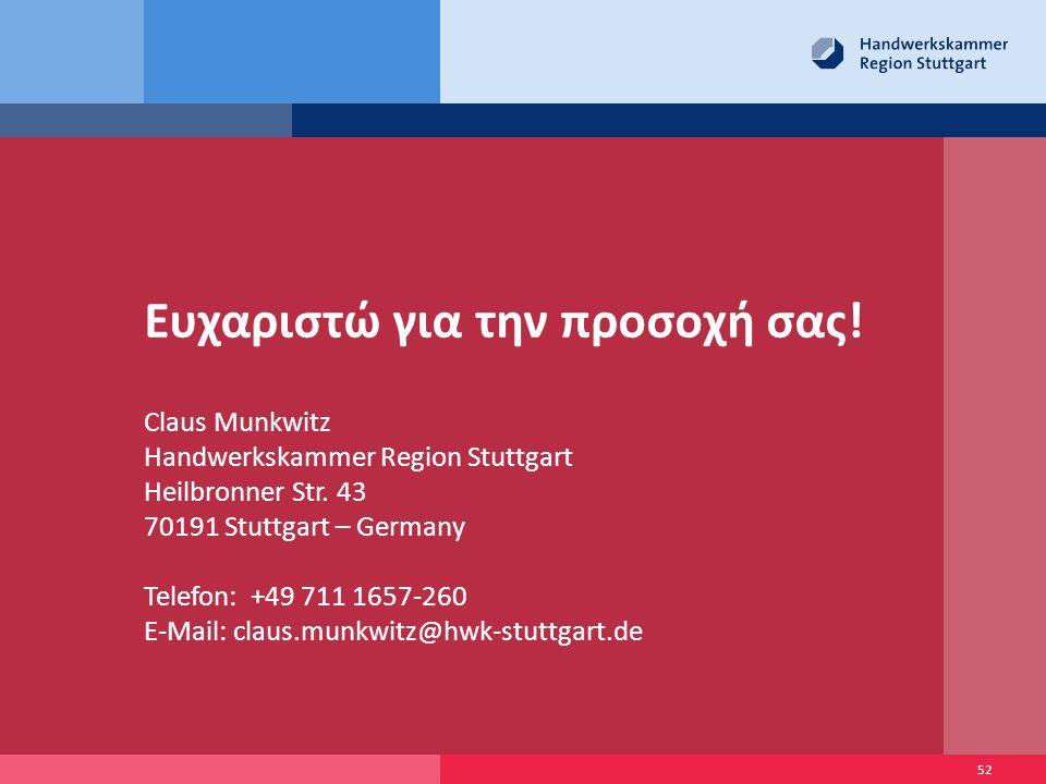 Ευχαριστώ για την προσοχή σας.Claus Munkwitz Handwerkskammer Region Stuttgart Heilbronner Str.