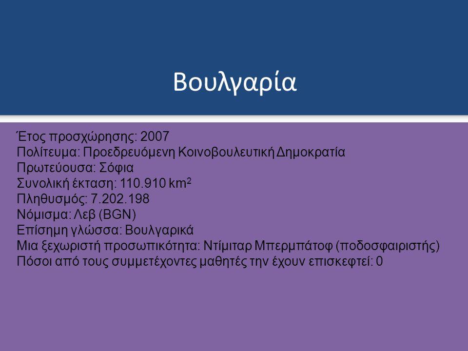 Βουλγαρία Έτος προσχώρησης: 2007 Πολίτευμα: Προεδρευόμενη Κοινοβουλευτική Δημοκρατία Πρωτεύουσα: Σόφια Συνολική έκταση: 110.910 km 2 Πληθυσμός: 7.202.198 Νόμισμα: Λεβ (BGN) Επίσημη γλώσσα: Βουλγαρικά Μια ξεχωριστή προσωπικότητα: Ντίμιταρ Μπερμπάτοφ (ποδοσφαιριστής) Πόσοι από τους συμμετέχοντες μαθητές την έχουν επισκεφτεί: 0
