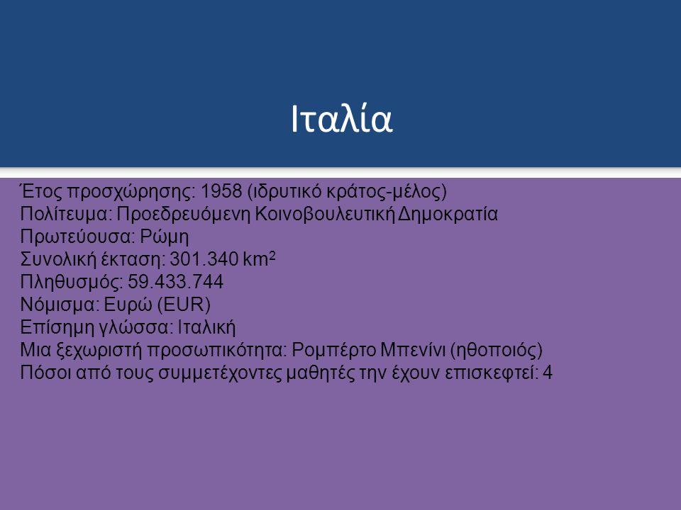 Ιταλία Έτος προσχώρησης: 1958 (ιδρυτικό κράτος-μέλος) Πολίτευμα: Προεδρευόμενη Κοινοβουλευτική Δημοκρατία Πρωτεύουσα: Ρώμη Συνολική έκταση: 301.340 km 2 Πληθυσμός: 59.433.744 Νόμισμα: Ευρώ (EUR) Επίσημη γλώσσα: Ιταλική Μια ξεχωριστή προσωπικότητα: Ρομπέρτο Μπενίνι (ηθοποιός) Πόσοι από τους συμμετέχοντες μαθητές την έχουν επισκεφτεί: 4