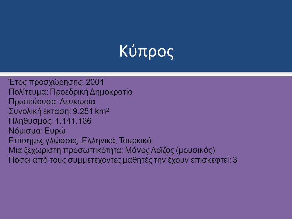 Κύπρος Έτος προσχώρησης: 2004 Πολίτευμα: Προεδρική Δημοκρατία Πρωτεύουσα: Λευκωσία Συνολική έκταση: 9.251 km 2 Πληθυσμός: 1.141.166 Νόμισμα: Ευρώ Επίσημες γλώσσες: Ελληνικά, Τουρκικά Μια ξεχωριστή προσωπικότητα: Μάνος Λοΐζος (μουσικός) Πόσοι από τους συμμετέχοντες μαθητές την έχουν επισκεφτεί: 3