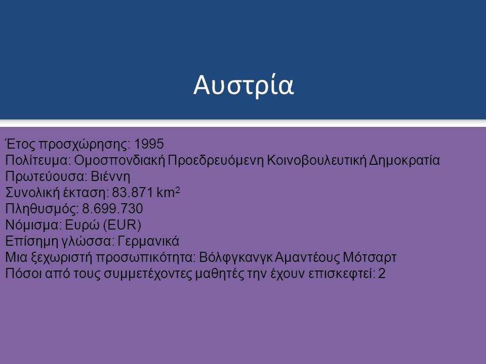 Αυστρία Έτος προσχώρησης: 1995 Πολίτευμα: Ομοσπονδιακή Προεδρευόμενη Κοινοβουλευτική Δημοκρατία Πρωτεύουσα: Βιέννη Συνολική έκταση: 83.871 km 2 Πληθυσμός: 8.699.730 Νόμισμα: Ευρώ (EUR) Επίσημη γλώσσα: Γερμανικά Μια ξεχωριστή προσωπικότητα: Βόλφγκανγκ Αμαντέους Μότσαρτ Πόσοι από τους συμμετέχοντες μαθητές την έχουν επισκεφτεί: 2