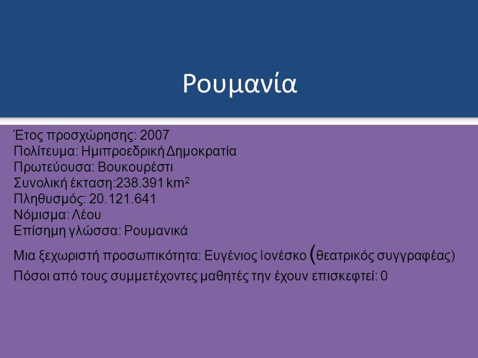 Ρουμανία Έτος προσχώρησης: 2007 Πολίτευμα: Ημιπροεδρική Δημοκρατία Πρωτεύουσα: Βουκουρέστι Συνολική έκταση:238.391 km 2 Πληθυσμός: 20.121.641 Νόμισμα: Λέου Επίσημη γλώσσα: Ρουμανικά Μια ξεχωριστή προσωπικότητα: Ευγένιος Ιονέσκο ( θεατρικός συγγραφέας) Πόσοι από τους συμμετέχοντες μαθητές την έχουν επισκεφτεί: 0