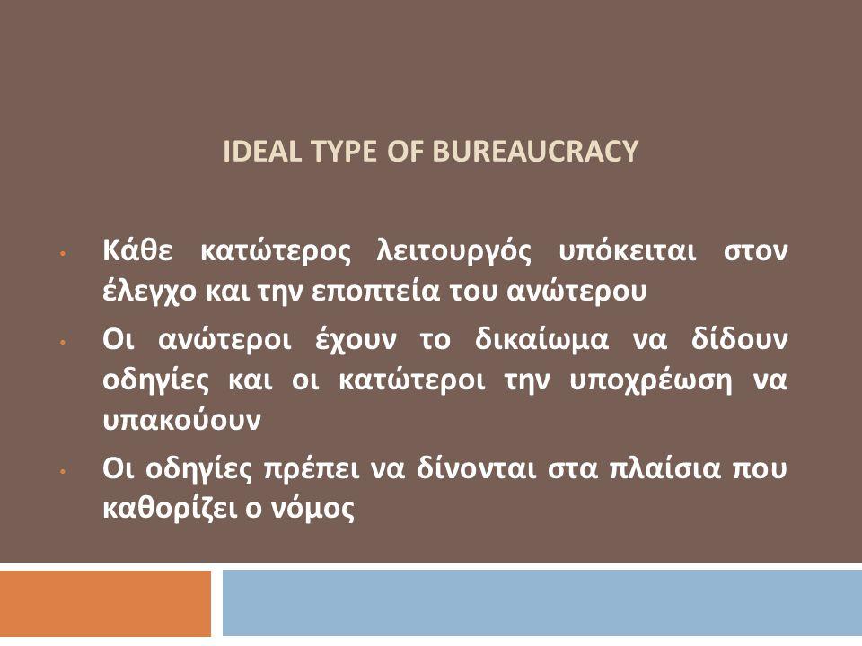 IDEAL TYPE OF BUREAUCRACY Κάθε κατώτερος λειτουργός υπόκειται στον έλεγχο και την εποπτεία του ανώτερου Οι ανώτεροι έχουν το δικαίωμα να δίδουν οδηγίε