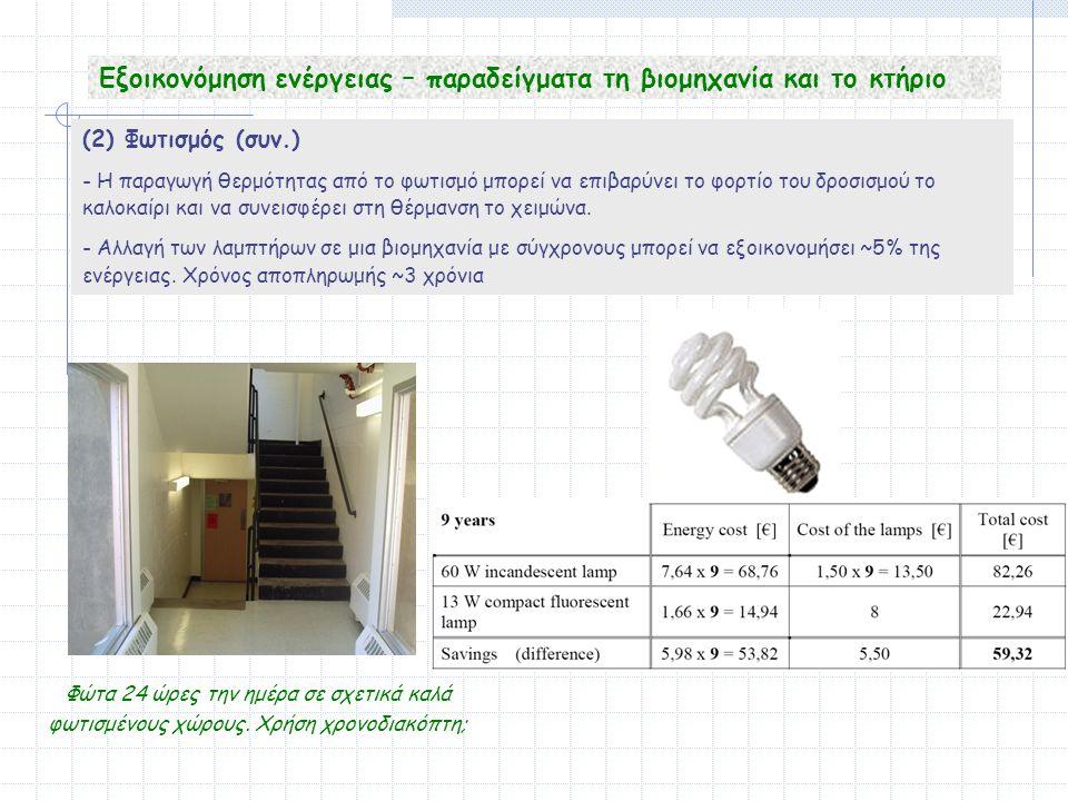 (2) Φωτισμός (συν.) - Η παραγωγή θερμότητας από το φωτισμό μπορεί να επιβαρύνει το φορτίο του δροσισμού το καλοκαίρι και να συνεισφέρει στη θέρμανση το χειμώνα.