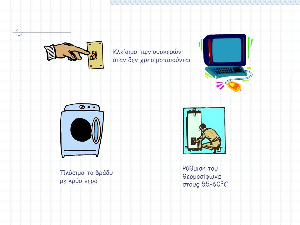 Κλείσιμο των συσκευών όταν δεν χρησιμοποιούνται Πλύσιμο το βράδυ με κρύο νερό Ρύθμιση του θερμοσίφωνα στους 55-60ºC