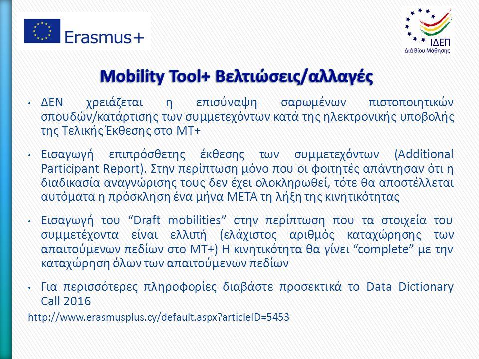 ΔΕΝ χρειάζεται η επισύναψη σαρωμένων πιστοποιητικών σπουδών/κατάρτισης των συμμετεχόντων κατά της ηλεκτρονικής υποβολής της Τελικής Έκθεσης στο MT+ Εισαγωγή επιπρόσθετης έκθεσης των συμμετεχόντων (Αdditional Participant Report).