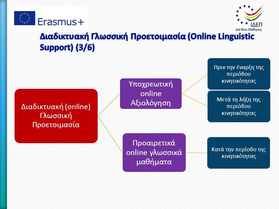 Διαδικτυακή (online) Γλωσσική Προετοιμασία Υποχρεωτική online Αξιολόγηση Πριν την έναρξη της περιόδου κινητικότητας Μετά τη λήξη της περιόδου κινητικότητας Προαιρετικά online γλωσσικά μαθήματα Κατά την περίοδο της κινητικότητας