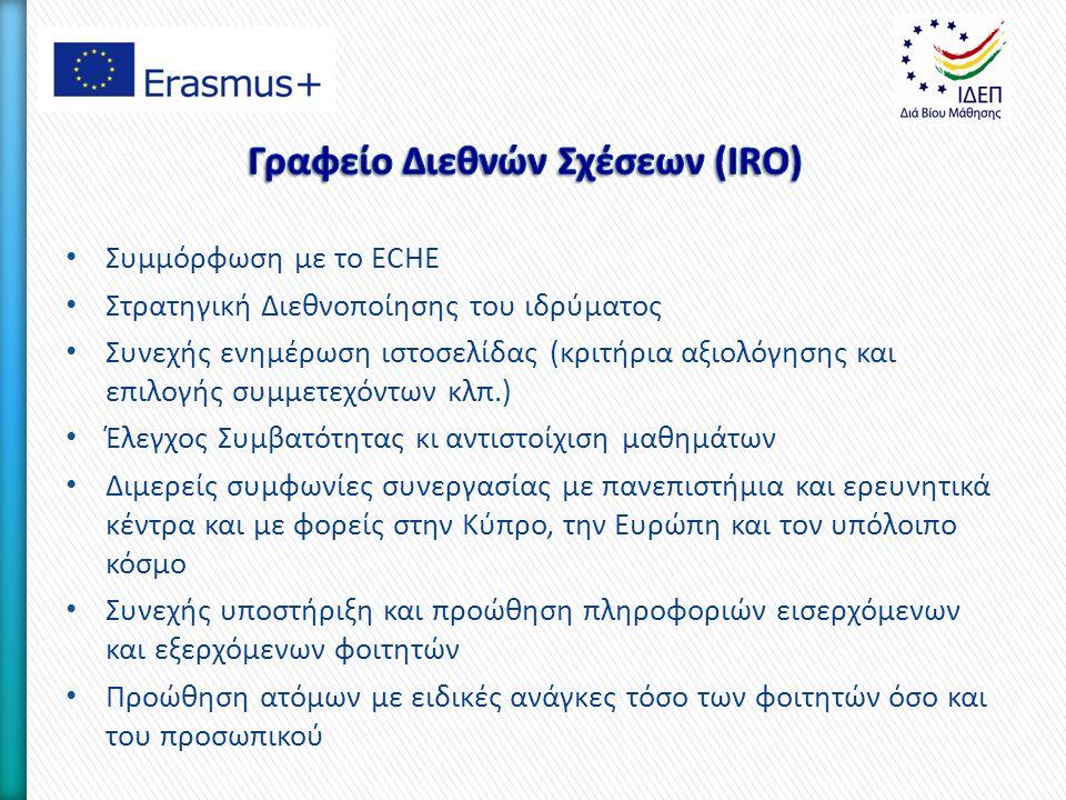 Συμμόρφωση με το ECHE Στρατηγική Διεθνοποίησης του ιδρύματος Συνεχής ενημέρωση ιστοσελίδας (κριτήρια αξιολόγησης και επιλογής συμμετεχόντων κλπ.) Έλεγχος Συμβατότητας κι αντιστοίχιση μαθημάτων Διμερείς συμφωνίες συνεργασίας με πανεπιστήμια και ερευνητικά κέντρα και με φορείς στην Κύπρο, την Ευρώπη και τον υπόλοιπο κόσμο Συνεχής υποστήριξη και προώθηση πληροφοριών εισερχόμενων και εξερχόμενων φοιτητών Προώθηση ατόμων με ειδικές ανάγκες τόσο των φοιτητών όσο και του προσωπικού