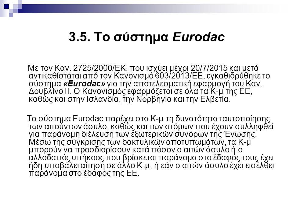 3.5. Το σύστημα Eurodac Με τον Καν.