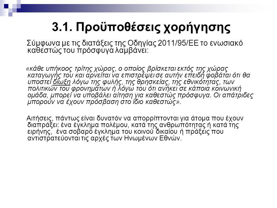 3.1. Προϋποθέσεις χορήγησης Σύμφωνα με τις διατάξεις της Οδηγίας 2011/95/ΕΕ το ενωσιακό καθεστώς του πρόσφυγα λαμβάνει: «κάθε υπήκοος τρίτης χώρας, ο