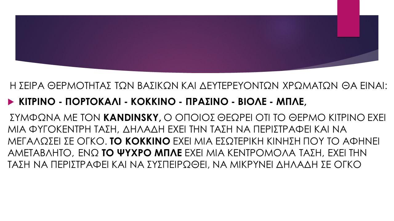 Η ΣΕΙΡΑ ΘΕΡΜΟΤΗΤΑΣ ΤΩΝ ΒΑΣΙΚΩΝ ΚΑΙ ΔΕΥΤΕΡΕΥΟΝΤΩΝ ΧΡΩΜΑΤΩΝ ΘΑ ΕΙΝΑΙ:  ΚΙΤΡΙΝΟ - ΠΟΡΤΟΚΑΛΙ - ΚΟΚΚΙΝΟ - ΠΡΑΣΙΝΟ - ΒΙΟΛΕ - ΜΠΛΕ, ΣΥΜΦΩΝΑ ΜΕ ΤΟΝ KANDINSKY, Ο ΟΠΟΙΟΣ ΘΕΩΡΕΙ ΟΤΙ ΤΟ ΘΕΡΜΟ ΚΙΤΡΙΝΟ ΕΧΕΙ ΜΙΑ ΦΥΓΟΚΕΝΤΡΗ ΤΑΣΗ, ΔΗΛΑΔΗ ΕΧΕΙ ΤΗΝ ΤΑΣΗ ΝΑ ΠΕΡΙΣΤΡΑΦΕΙ ΚΑΙ ΝΑ ΜΕΓΑΛΩΣΕΙ ΣΕ ΟΓΚΟ.