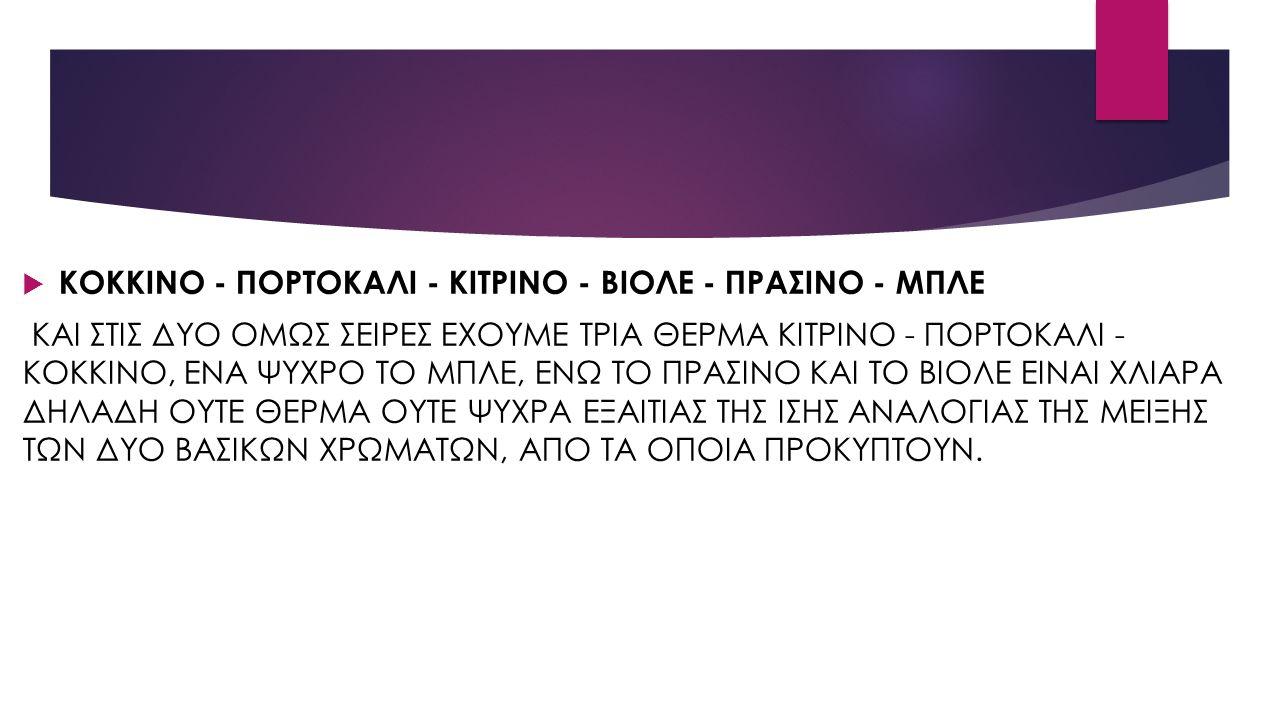  ΚΟΚΚΙΝΟ - ΠΟΡΤΟΚΑΛΙ - ΚΙΤΡΙΝΟ - ΒΙΟΛΕ - ΠΡΑΣΙΝΟ - ΜΠΛΕ ΚΑΙ ΣΤΙΣ ΔΥΟ ΟΜΩΣ ΣΕΙΡΕΣ ΕΧΟΥΜΕ ΤΡΙΑ ΘΕΡΜΑ ΚΙΤΡΙΝΟ - ΠΟΡΤΟΚΑΛΙ - ΚΟΚΚΙΝΟ, ΕΝΑ ΨΥΧΡΟ ΤΟ ΜΠΛΕ, ΕΝΩ ΤΟ ΠΡΑΣΙΝΟ ΚΑΙ ΤΟ ΒΙΟΛΕ ΕΙΝΑΙ ΧΛΙΑΡΑ ΔΗΛΑΔΗ ΟΥΤΕ ΘΕΡΜΑ ΟΥΤΕ ΨΥΧΡΑ ΕΞΑΙΤΙΑΣ ΤΗΣ ΙΣΗΣ ΑΝΑΛΟΓΙΑΣ ΤΗΣ ΜΕΙΞΗΣ ΤΩΝ ΔΥΟ ΒΑΣΙΚΩΝ ΧΡΩΜΑΤΩΝ, ΑΠΟ ΤΑ ΟΠΟΙΑ ΠΡΟΚΥΠΤΟΥΝ.