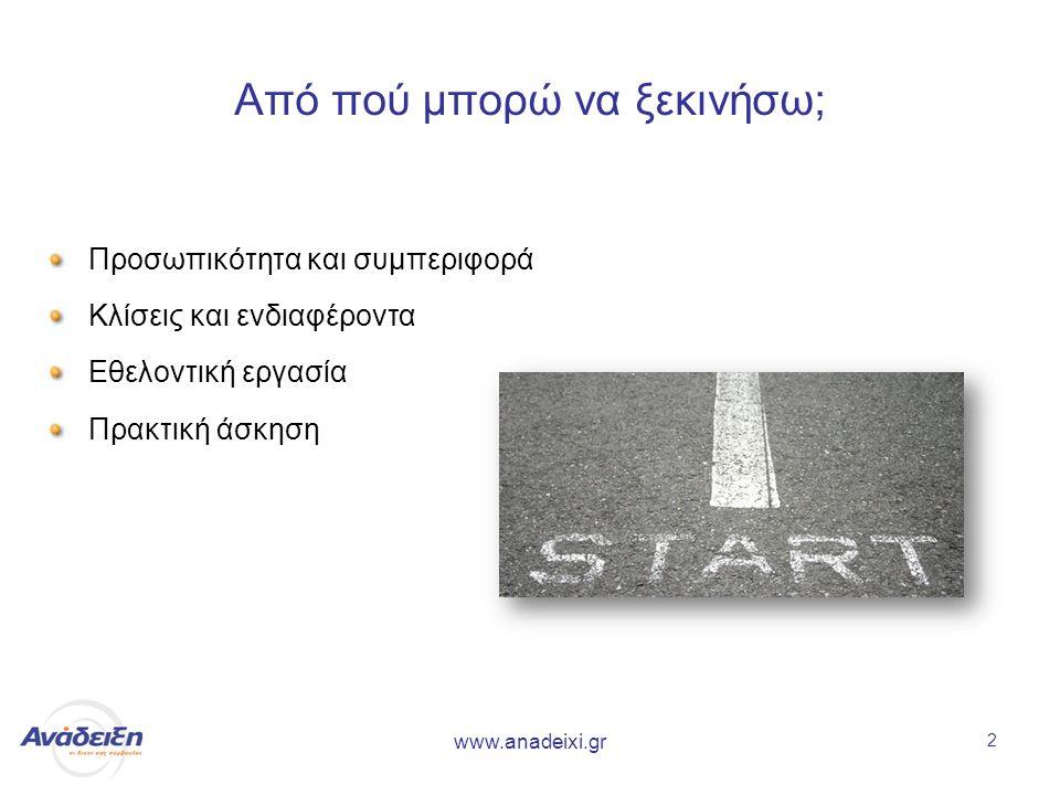 www.anadeixi.gr 2 Από πού μπορώ να ξεκινήσω; Προσωπικότητα και συμπεριφορά Κλίσεις και ενδιαφέροντα Εθελοντική εργασία Πρακτική άσκηση