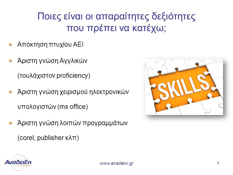 www.anadeixi.gr 4 Ποιες είναι οι απαραίτητες δεξιότητες που πρέπει να κατέχω; Απόκτηση πτυχίου ΑΕΙ Άριστη γνώση Αγγλικών (τουλάχιστον proficiency) Άριστη γνώση χειρισμού ηλεκτρονικών υπολογιστών (ms office) Άριστη γνώση λοιπών προγραμμάτων (corel, publisher κλπ)