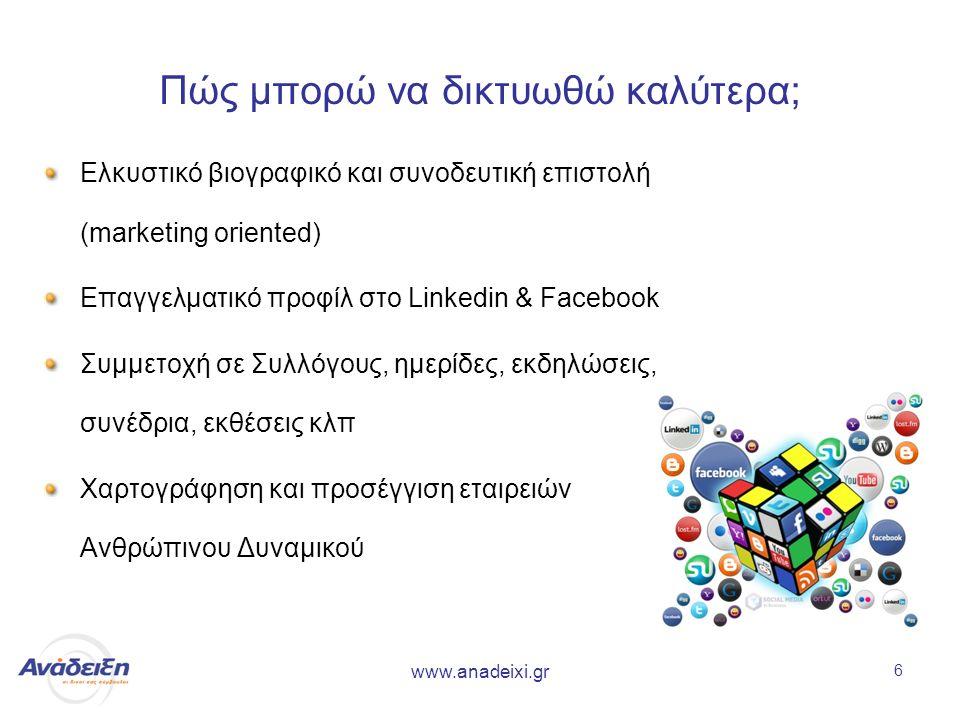 www.anadeixi.gr 6 Πώς μπορώ να δικτυωθώ καλύτερα; Ελκυστικό βιογραφικό και συνοδευτική επιστολή (marketing oriented) Επαγγελματικό προφίλ στο Linkedin & Facebook Συμμετοχή σε Συλλόγους, ημερίδες, εκδηλώσεις, συνέδρια, εκθέσεις κλπ Χαρτογράφηση και προσέγγιση εταιρειών Ανθρώπινου Δυναμικού