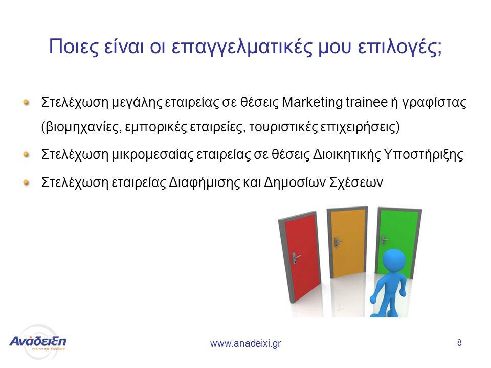 www.anadeixi.gr 8 Ποιες είναι οι επαγγελματικές μου επιλογές; Στελέχωση μεγάλης εταιρείας σε θέσεις Marketing trainee ή γραφίστας (βιομηχανίες, εμπορικές εταιρείες, τουριστικές επιχειρήσεις) Στελέχωση μικρομεσαίας εταιρείας σε θέσεις Διοικητικής Υποστήριξης Στελέχωση εταιρείας Διαφήμισης και Δημοσίων Σχέσεων