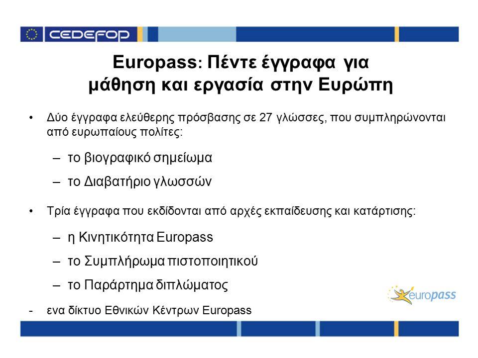 Europass : Πέντε έγγραφα για μάθηση και εργασία στην Ευρώπη Δύο έγγραφα ελεύθερης πρόσβασης σε 27 γλώσσες, που συμπληρώνονται από ευρωπαίους πολίτες: –το βιογραφικό σημείωμα –το Διαβατήριο γλωσσών Τρία έγγραφα που εκδίδονται από αρχές εκπαίδευσης και κατάρτισης: –η Κινητικότητα Europass –το Συμπλήρωμα πιστοποιητικού –το Παράρτημα διπλώματος -ενα δίκτυο Εθνικών Κέντρων Europass