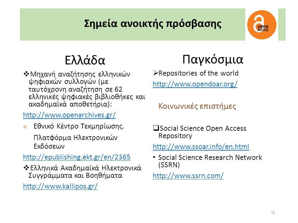 15 Σημεία ανοικτής πρόσβασης Ελλάδα  Μηχανή αναζήτησης ελληνικών ψηφιακών συλλογών (με ταυτόχρονη αναζήτηση σε 62 ελληνικές ψηφιακές βιβλιοθήκες και