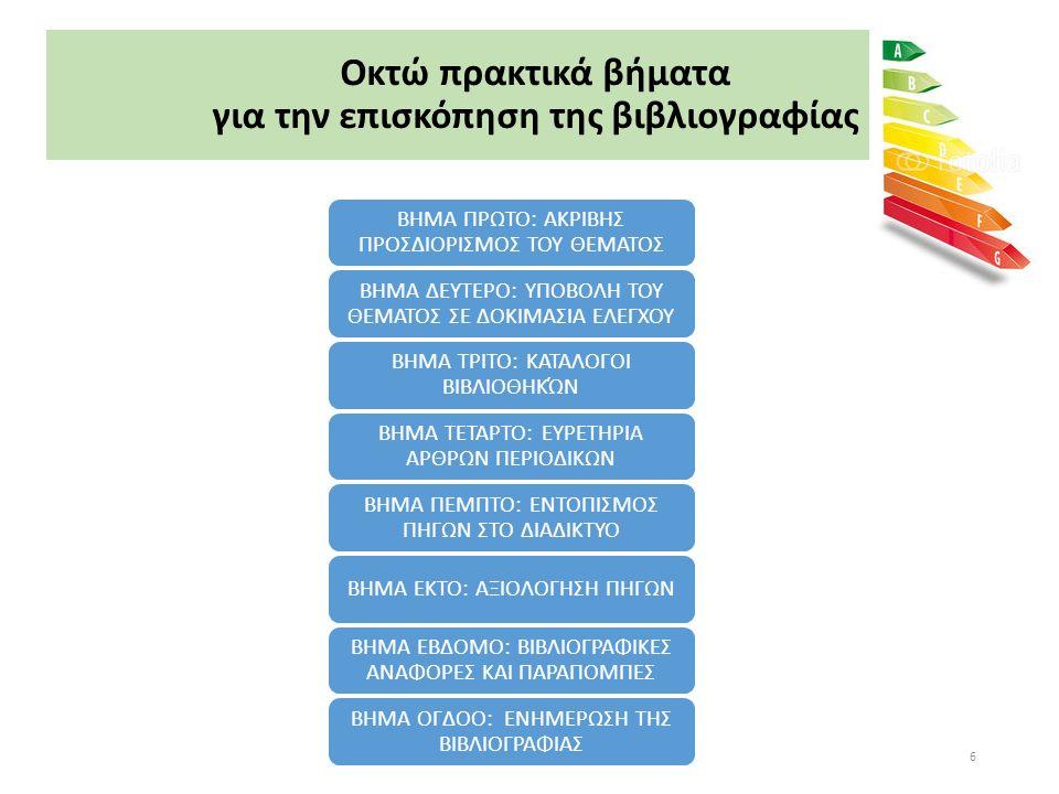 ΒΗΜΑ ΕΒΔΟΜΟ: Βιβλιογραφικές αναφορές & παραπομπές 1/4 Η αναφορά και η παραπομπή στις πηγές επιτελεί δύο βασικούς σκοπούς:  Προστατεύει τα πνευματικά δικαιώματα των συγγραφέων των οποίων το έργο έχει χρησιμοποιηθεί  Επιτρέπει στους αναγνώστες- αξιολογητές την τεκμηρίωση της έρευνας μέσω της δυνατότητας εντοπισμού των πηγών που έχουν αναφερθεί Η σύνταξη της βιβλιογραφίας και των βιβλιογραφικών παραπομπών υπόκειται σε κανόνες.