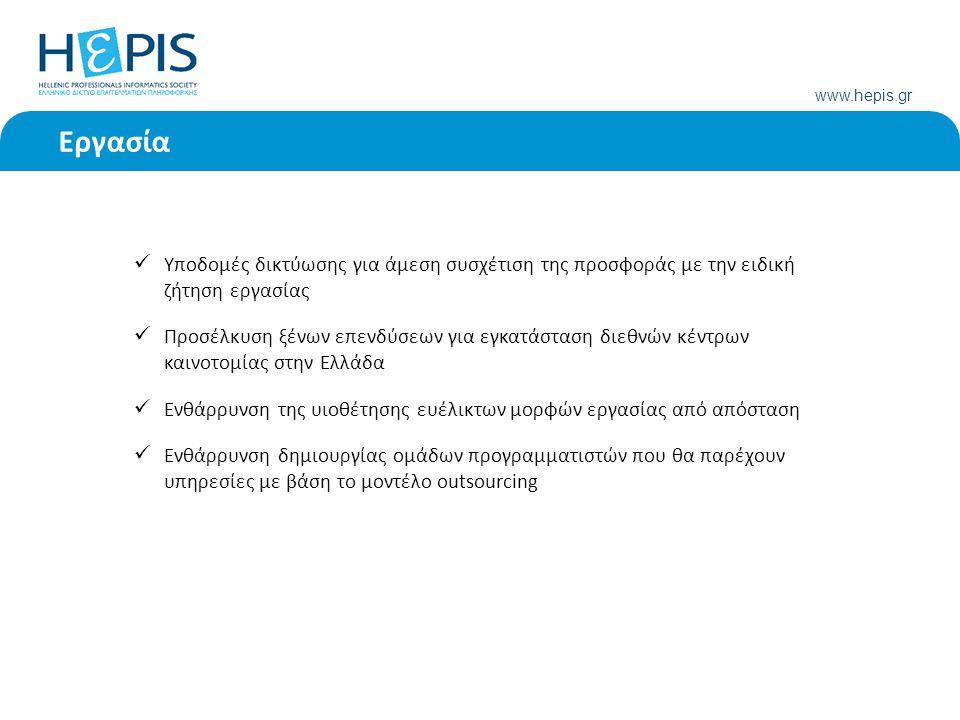 www.hepis.gr Εργασία Υποδομές δικτύωσης για άμεση συσχέτιση της προσφοράς με την ειδική ζήτηση εργασίας Προσέλκυση ξένων επενδύσεων για εγκατάσταση διεθνών κέντρων καινοτομίας στην Ελλάδα Ενθάρρυνση της υιοθέτησης ευέλικτων μορφών εργασίας από απόσταση Ενθάρρυνση δημιουργίας ομάδων προγραμματιστών που θα παρέχουν υπηρεσίες με βάση το μοντέλο outsourcing