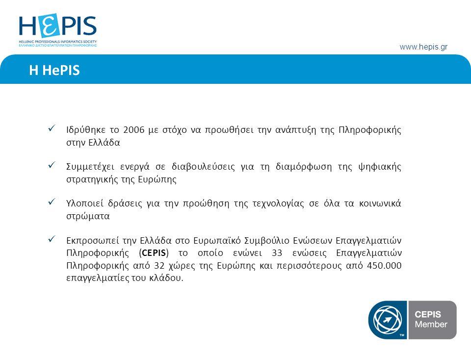 www.hepis.gr H HePIS Ιδρύθηκε το 2006 με στόχο να προωθήσει την ανάπτυξη της Πληροφορικής στην Ελλάδα Συμμετέχει ενεργά σε διαβουλεύσεις για τη διαμόρφωση της ψηφιακής στρατηγικής της Ευρώπης Υλοποιεί δράσεις για την προώθηση της τεχνολογίας σε όλα τα κοινωνικά στρώματα Εκπροσωπεί την Ελλάδα στο Ευρωπαϊκό Συμβούλιο Ενώσεων Επαγγελματιών Πληροφορικής (CEPIS) το οποίο ενώνει 33 ενώσεις Επαγγελματιών Πληροφορικής από 32 χώρες της Ευρώπης και περισσότερους από 450.000 επαγγελματίες του κλάδου.