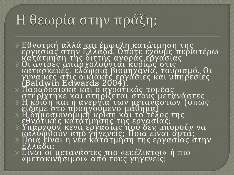  Εθνοτική αλλά και έμφυλη κατάτμηση της εργασίας στην Ελλάδα.