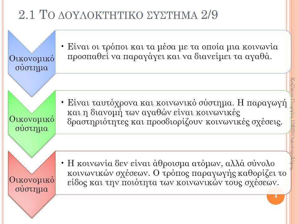 2.1 Τ Ο ΔΟΥΛΟΚΤΗΤΙΚΟ ΣΥΣΤΗΜΑ 2/9 Οικονομικό σύστημα Είναι οι τρόποι και τα μέσα με τα οποία μια κοινωνία προσπαθεί να παραγάγει και να διανείμει τα αγ