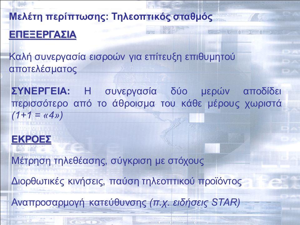Μελέτη περίπτωσης: Τηλεοπτικός σταθμός ΕΠΕΞΕΡΓΑΣΙΑ Καλή συνεργασία εισροών για επίτευξη επιθυμητού αποτελέσματος ΣΥΝΕΡΓΕΙΑ: H συνεργασία δύο μερών αποδίδει περισσότερο από το άθροισμα του κάθε μέρους χωριστά (1+1 = «4») ΕΚΡΟΕΣ Μέτρηση τηλεθέασης, σύγκριση με στόχους Διορθωτικές κινήσεις, παύση τηλεοπτικού προϊόντος Αναπροσαρμογή κατεύθυνσης (π.χ.