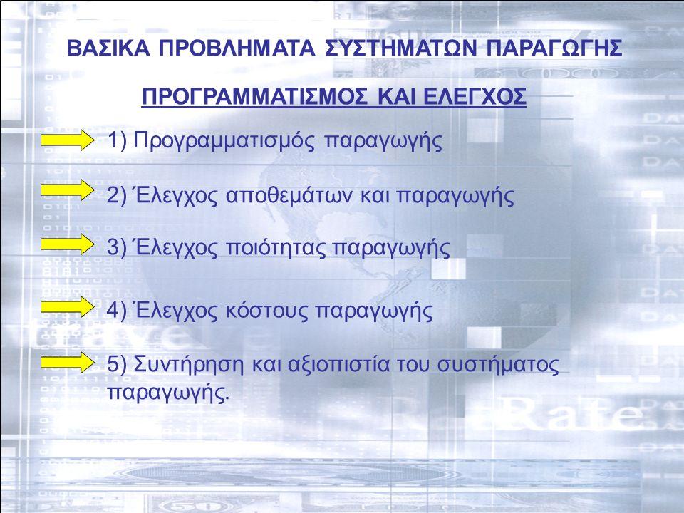 ΒΑΣΙΚΑ ΠΡΟΒΛΗΜΑΤΑ ΣΥΣΤΗΜΑΤΩΝ ΠΑΡΑΓΩΓΗΣ ΠΡΟΓΡΑΜΜΑΤΙΣΜΟΣ ΚΑΙ ΕΛΕΓΧΟΣ 1) Προγραμματισμός παραγωγής 2) Έλεγχος αποθεμάτων και παραγωγής 3) Έλεγχος ποιότητας παραγωγής 4) Έλεγχος κόστους παραγωγής 5) Συντήρηση και αξιοπιστία του συστήματος παραγωγής.