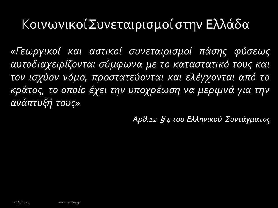 Κοινωνικοί Συνεταιρισμοί στην Ελλάδα «Γεωργικοί και αστικοί συνεταιρισμοί πάσης φύσεως αυτοδιαχειρίζονται σύμφωνα με το καταστατικό τους και τον ισχύο