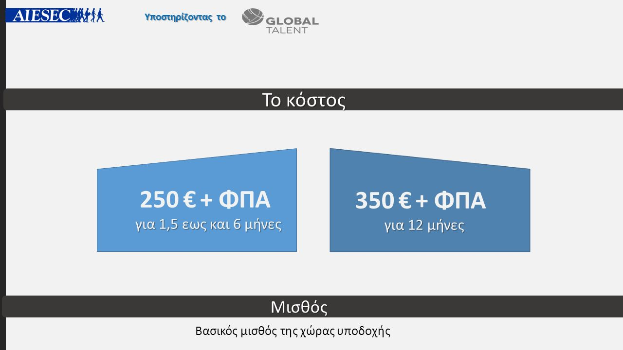 Υποστηρίζοντας το για 1,5 εως και 6 μήνες 250 € + ΦΠΑ για 1,5 εως και 6 μήνες για 12 μήνες 350 € + ΦΠΑ για 12 μήνες Το κόστος Μισθός Βασικός μισθός της χώρας υποδοχής