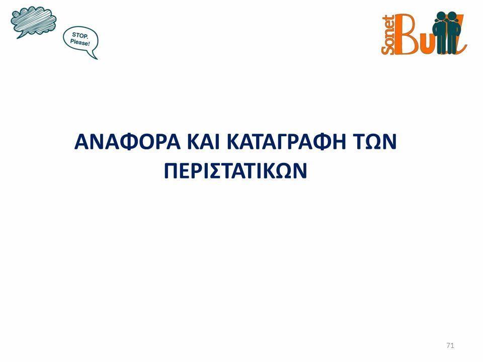 ΑΝΑΦΟΡΑ ΚΑΙ ΚΑΤΑΓΡΑΦΗ ΤΩΝ ΠΕΡΙΣΤΑΤΙΚΩΝ 71