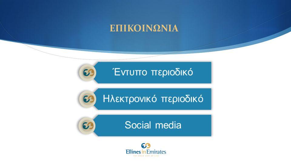 ΕΠΙΚΟΙΝΩΝΙΑ Έντυπο περιοδικό Ηλεκτρονικό περιοδικό Social media